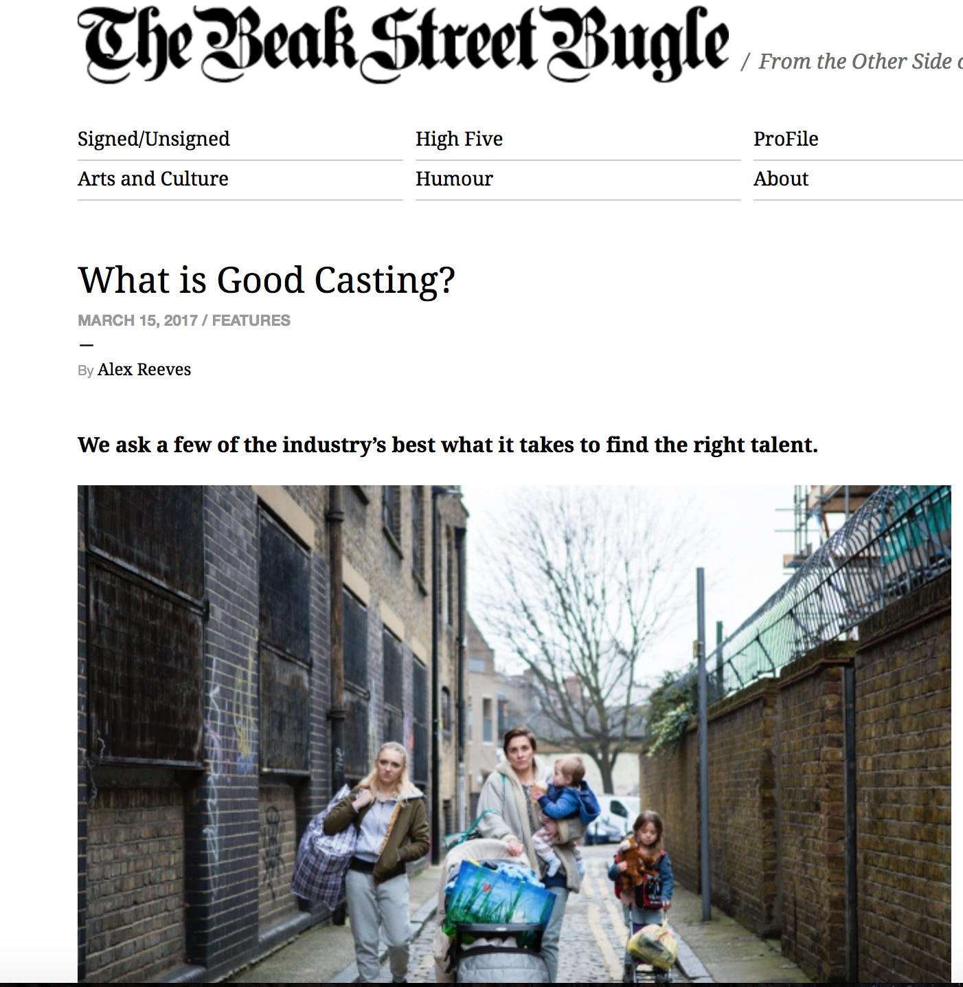 Beak Street Bugle Interview with Shakyra Dowling on what makes good casting